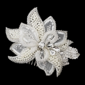 Silver Ivory Pearl, Rhinestone, Crystal, Sequin, and Bugle Bead Floral Comb 7105