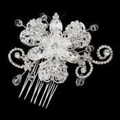 Silver Clear Crystal and Rhinestone Accenting Comb 921
