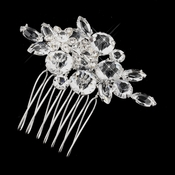 * Silver Clear Crystal and Rhinestone Flower Accenting Comb 922