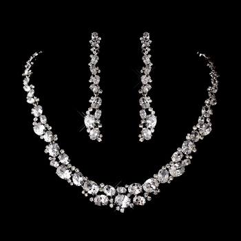 Silver Clear Cubic Zirconia Necklace Earring Set 1275