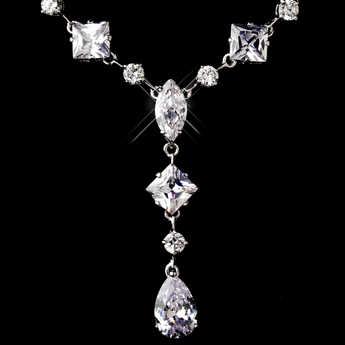 Silver Clear Cubic Zirconia Necklace Earring Set 1276