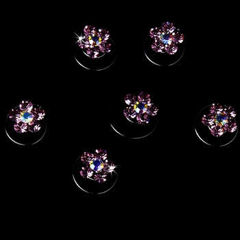 Pink Crystal Rhinestone Twist In Hair Spinners (Set of 12)