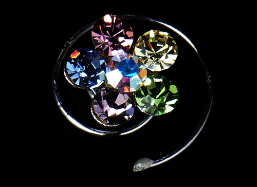 12 Delightful Silver Multi Pastel Color Rhinestone Flower Twist-Ins 01