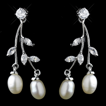 Antique Silver Freshwater Pearl & CZ Crystal Dangle Earrings 8898 ***Discontinued***
