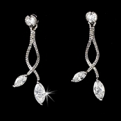 * Elegant Silver Clear CZ Vine Earrings 6021