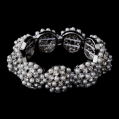 Elegant Dome Pave Ball Bridal Bracelet w/ White Pearls & Clear Rhinestones 8712