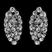 Gorgeous Silver Clear Crystal Marquise Stud Earrings 8702
