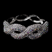 Gorgeous Braided Silver Bangle Bracelet w/ Clear & AB Crystals 8711
