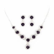 Silver Amethyst Necklace Earring Set 8476