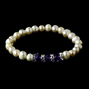 Silver Ivory Pearl &  Amethyst Crystal Bracelet 7235 ***Discontinued***