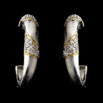 Silver Clear w/ Gold Trim Earrings 7954
