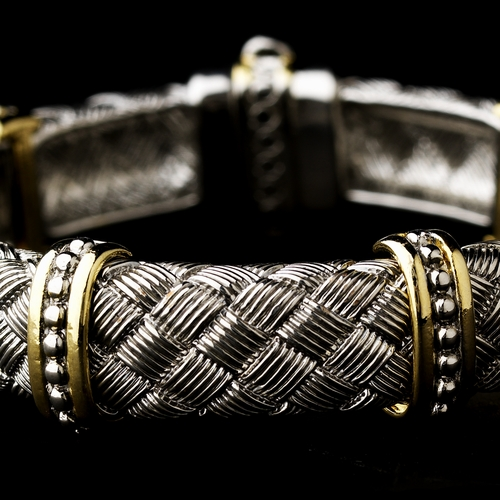 Woven Silver Pattern with Gold Trim Bracelet 7982