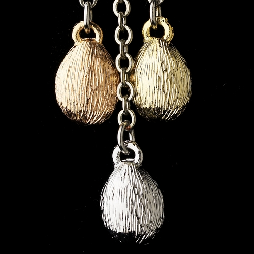 Silver w/ Two Gold Tones Earrings 7958***Discontinued***