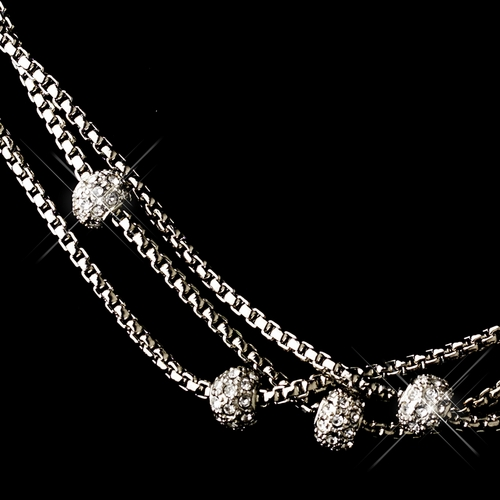 Silver Clear Linked Chain Necklace 7988