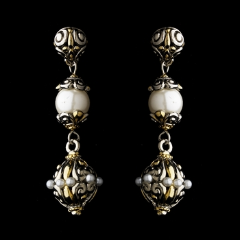 Silver Pearl w/ Gold Highlights Earrings 7955