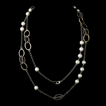 """Silver Gold Pearl 48"""" Necklace 7987"""
