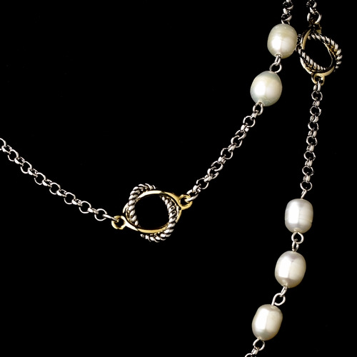 "Silver Gold Pearl 36"" Necklace 7990"
