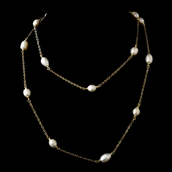 """Gold Pearl 36"""" Necklace 7992"""