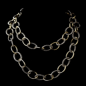 "Silver Gold Linked Chain 18"" Necklace 7989"