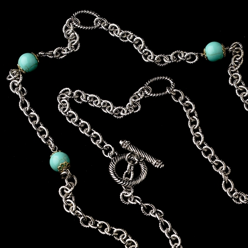 "Silver Aquamarine 60"" Necklace w/ Gold Hearts 7986"
