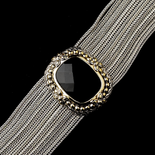 Silver Braided Wire with a Silver Gold Decorated Clasp Bracelet 7961