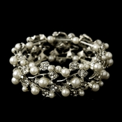 Diamond White Pearl Vintage Stretch Bracelet 969
