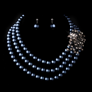 Silver Hematite Necklace Earring Set 12508
