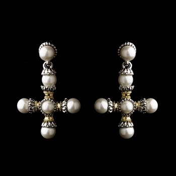 Silver Gold Pearl Earrings 7953
