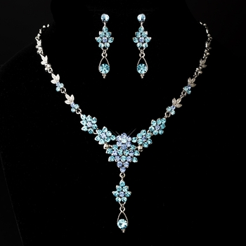 Silver Aqua and Light Blue Necklace Earring Set 902* Discontinued*