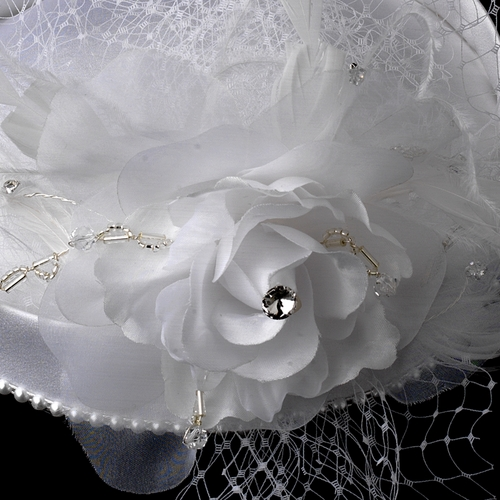 Vintage Couture Bridal Hat of Rhinestones & Tulle with Russian Blusher Veil 1133