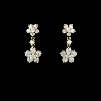 Stunning Antique Gold Clear CZ Flower Earring 6009 ***Discontinued***