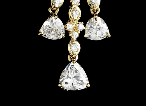 Shimmering Gold Cubic Zirconia Chandelier Earrings 3809