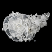 Ivory Pearl, Crystal & Rhinestone Sheer Organza Fabric Flower Hair Clip 9732