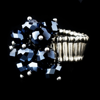 Silver Stretch Ring with Montana Blue AB Crystals 473