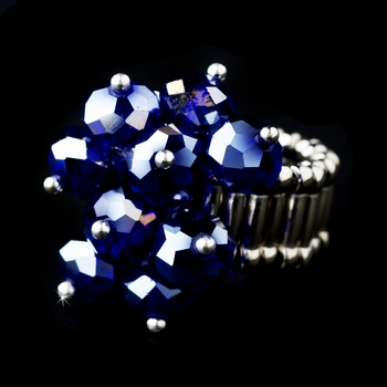 Silver Stretch Ring with Sapphire Aurora Borealis Crystals 473