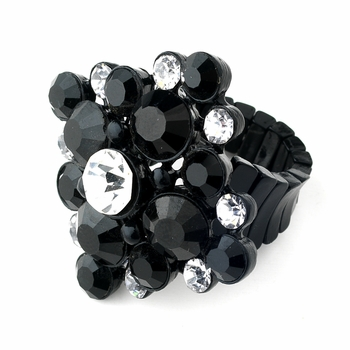 Jet Black & Clear Crystal Stretch Ring 950 ** 4 Left **