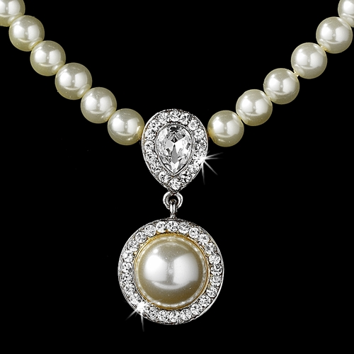 Elegant Victorian Style Silver Ivory Pearl Bridal Necklace Earring Set 71678***Discontinued