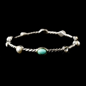 Silver Aquamarine Pearl Clear with Gold Trim Bracelet 7972