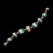 Silver Aqua Clear with Gold Trim Bracelet 7983