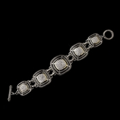 Silver w/ Gold Clear Center Bracelet 7978