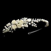 Silver Freshwater Pearl, Rhinestone, Ivory Porcelain Flower and Leaf Side Accented Headband Headpiece 8739***Discontinued***