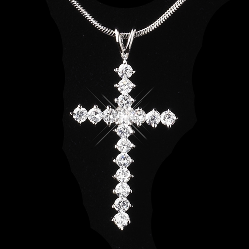 Antique Silver Clear Cross Pendant Necklace 8901 **Discontinued**