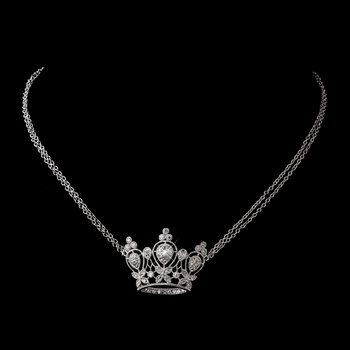Antique Silver Clear CZ Crystal Crown Necklace 8904