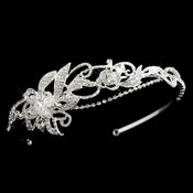 Silver Clear Swarovski Crystal Bead & Rhinestone Side Accented Headband Headpiece 9700