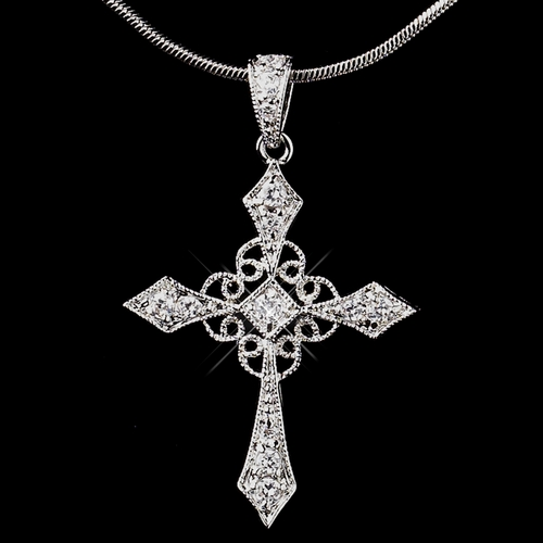 Antique Silver Clear CZ Crystal Cross Necklace 8905