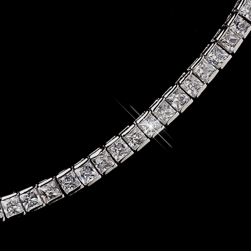 Dazzling Antique Silver Clear CZ Crystal Necklace 8906