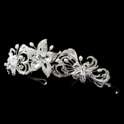 * Silver Freshwater Pearl, Swarovski Crystal Bead, and Rhinestone Floral Headband Headpiece 9702 (Only 1 Piece left in stock)