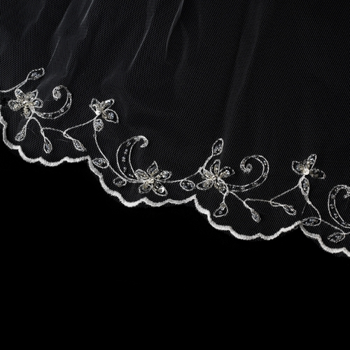 "Bridal Veil 101 1F - Single Layer Fingertip Scalloped Embroidered Edge (36""long)"