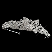 Silver Clear Rhinestone Petal Side Accented Headband Headpiece 9704
