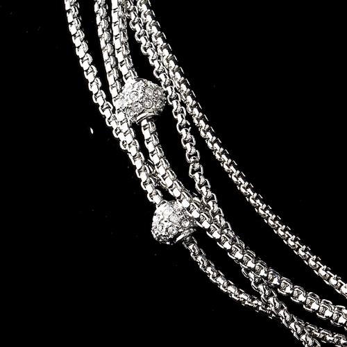 Vintage Cubic Zirconia Multi Silver Clear Necklace N 8913 * 1 Left *
